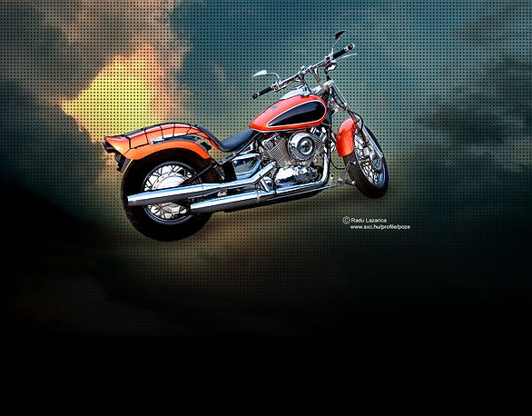 Dramatic Red and Black Motorcycle Shot