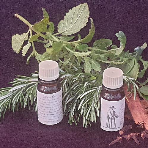 Thieves oil blend Rosemary Cinnamon Clove Lemon Eucalyptus in an Almond oil base