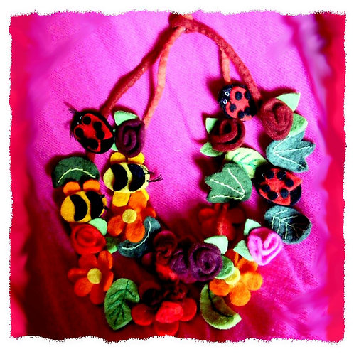 Flower Leaf Bee Ladybird necklace or headdress