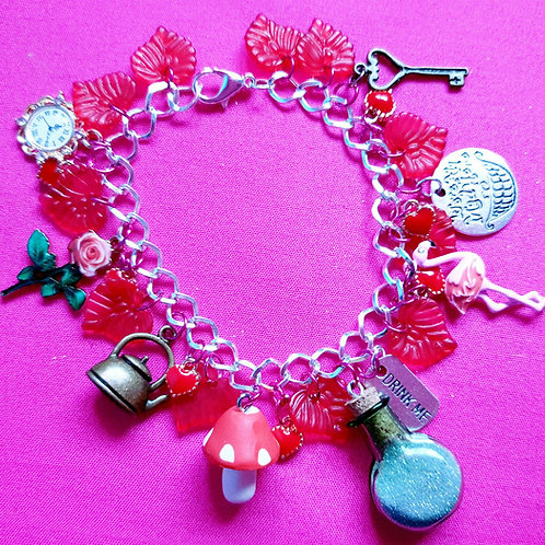 Mad as a Hatter Alice in Wonderland Charm Bracelet