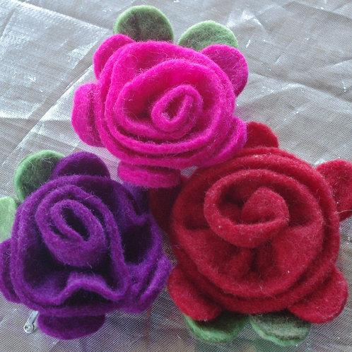 Felt flower brooches or hairclips