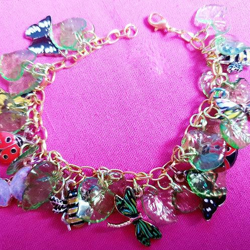 Flutterby! Butterfly Dragonfly Charm Bracelet