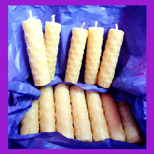 "Twelve hand rolled hand made tiny 5cm / 2"" 100% natural beeswax candles - Fairy"