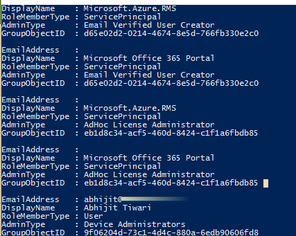 Powershell Script to fetch List of Administrator and Service Principals on Azure Active Directory/ O