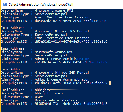 Powershell Script to fetch List of Administrator and Service
