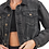 Thumbnail: Cropped Denim Jacket with Tapered Sleeves and Shirred Hem