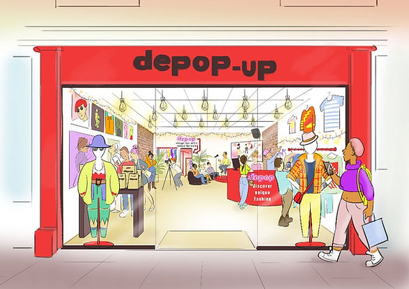 sally pring storyboards colour depop pop up shop illustration event interior