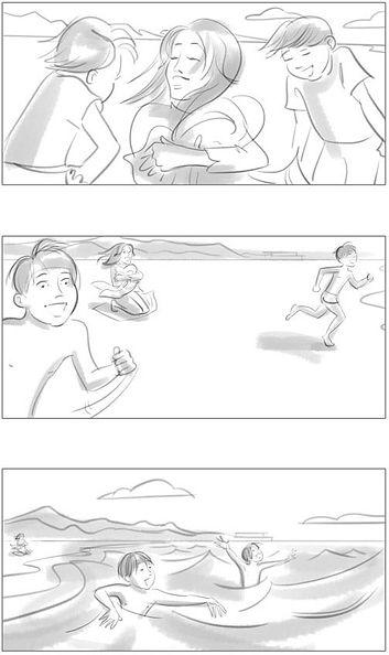 beach scene storyboard black white windy day