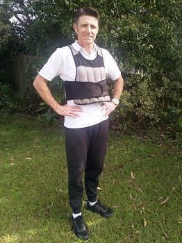 weights vest for exercise worn by personal trainer Ash Radford