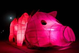 Pig art car at night