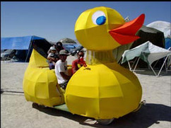 'Low poly' rubber duck art car (welded on golf cart)