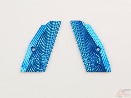 CZ 75 Aluminum Grips - SHORT- BLUE