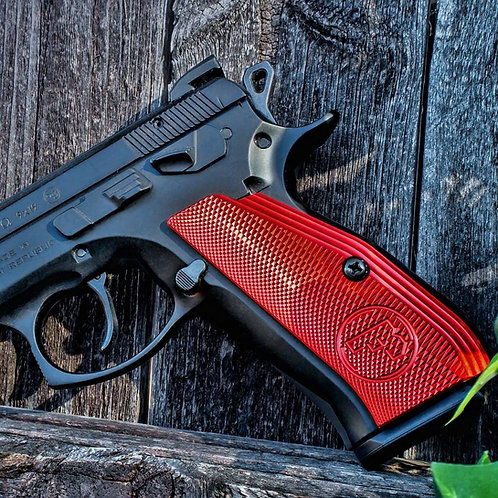 CZ 75 Aluminum Grips - LONG - RED
