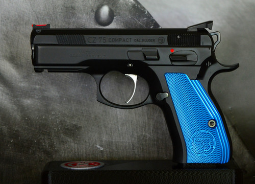 CZ 75 Aluminum Grips - COMPACT - Blue   armorycraft