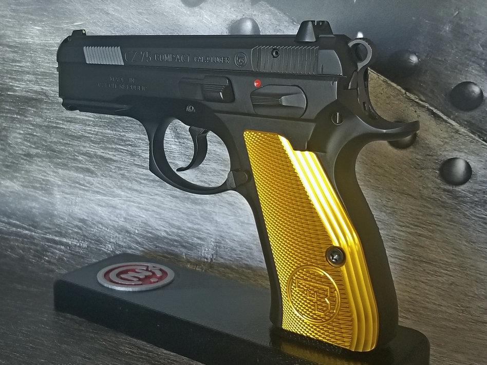 CZ 75 Aluminum Grips - COMPACT - Yellow | armorycraft
