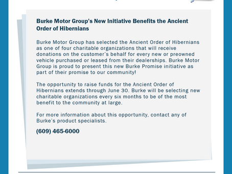 Burke Motor Group's New Initiative Benefits the Ancient Order of Hibernians
