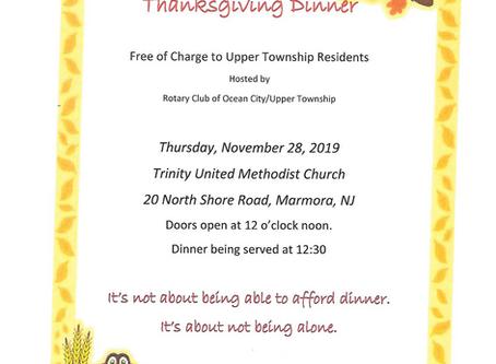 Community Thanksgiving Dinner for Upper Township Residents