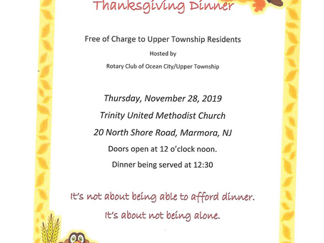 Community Thanksgiving Dinner for Upper Township Residents