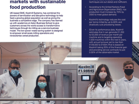 Koolmill Systems uses servitization to access global markets with sustainable food production