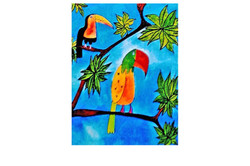 Parrot and Tucan - 2006 - glicee on canvas (SOLD)
