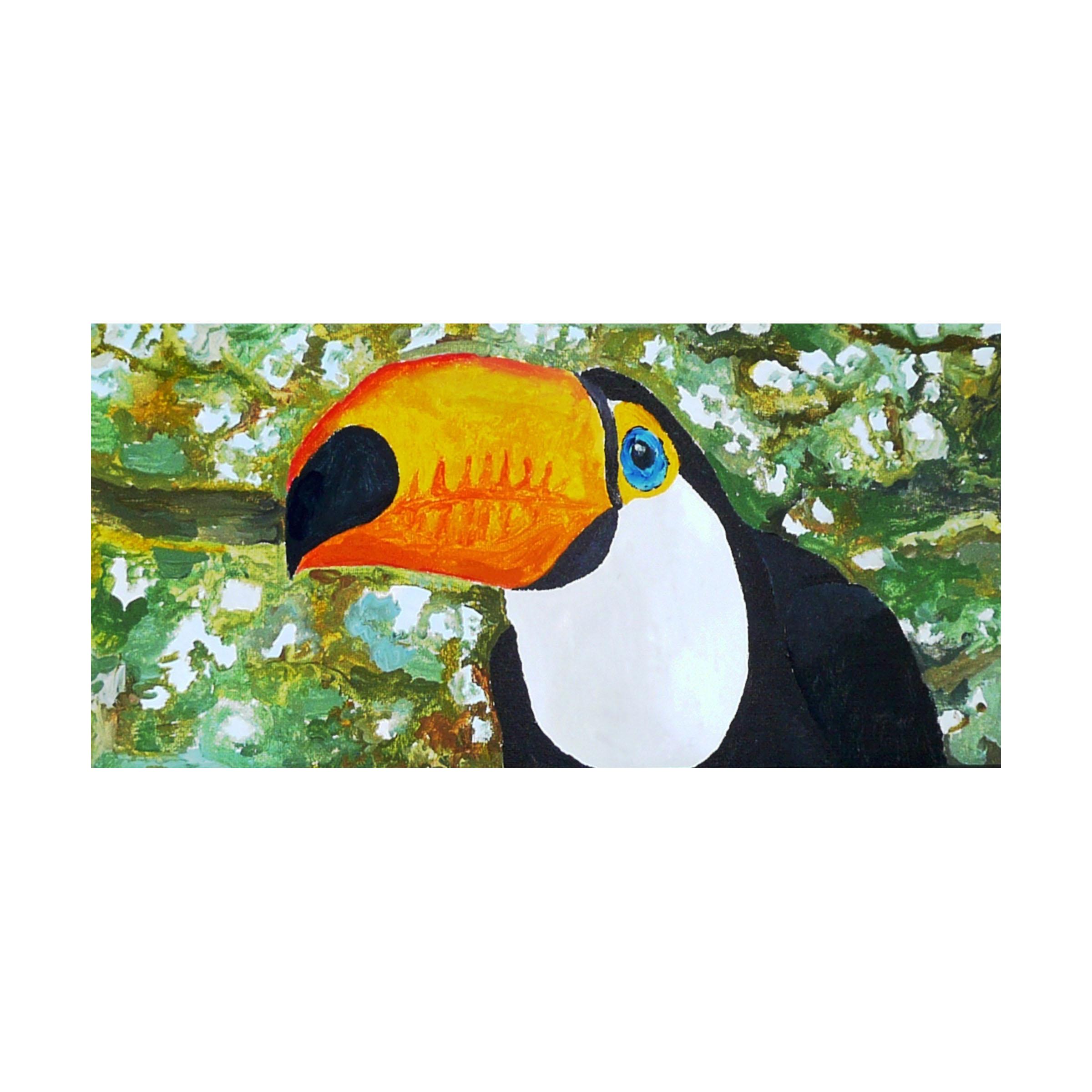 a 14 Tucan 2, acrylic on canvas panel 8'' x 16''