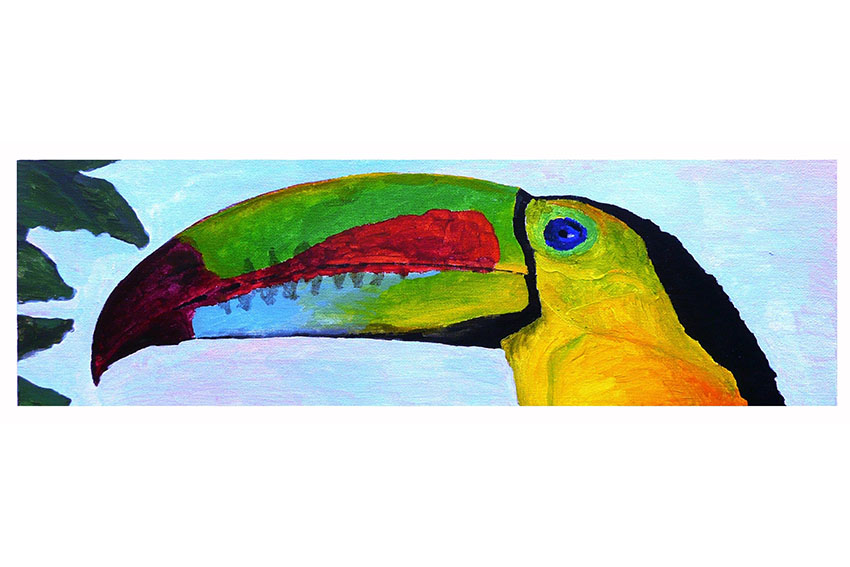 Long Tucan, 2008, Acrylic on canvas panel, 20'' x 6''