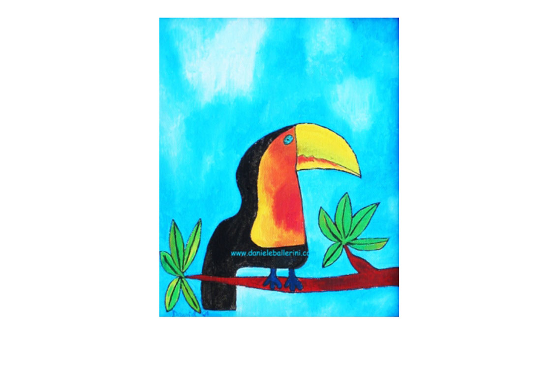 tucan 1, 2002, Oil on canvas and woodframe, 9'' x 6''
