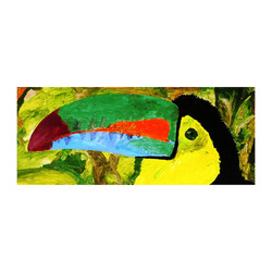 a 14 Ugly tucan, acrylic on canvas panel, 8'' x 20''