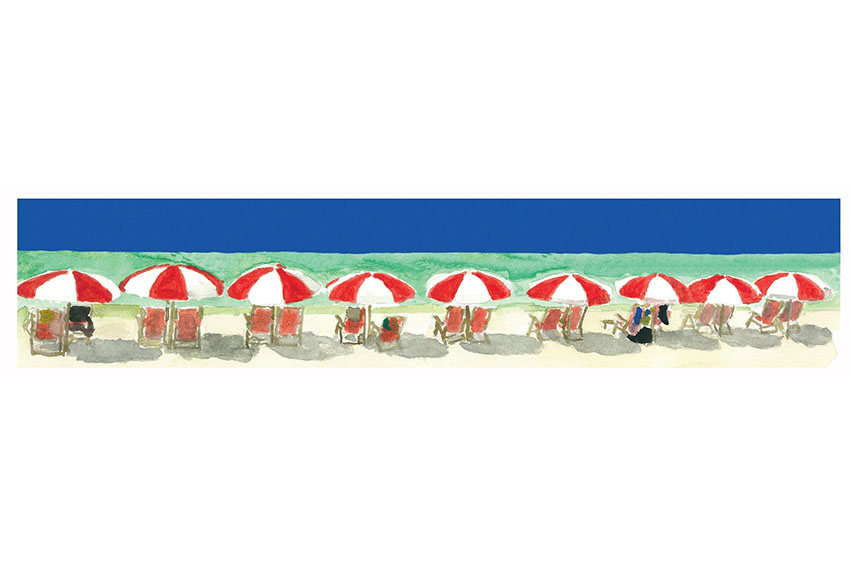 Miami Beach Umbrellas, 2009, Acrylic on canvas, 36'' x 12''