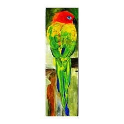 a 20 Little parrot, acrylic on canvas panel, 7'' x 24'',
