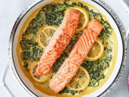 Garlic, Lemon & Spinach Salmon