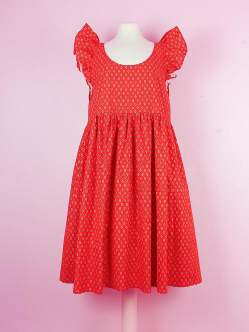 Lady red - POP ON PINAFORE dress L/XL