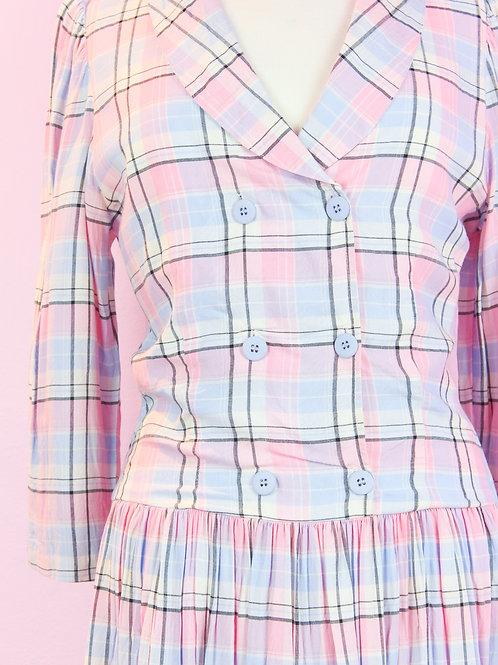 Checked pastels - Vintage Dress - M