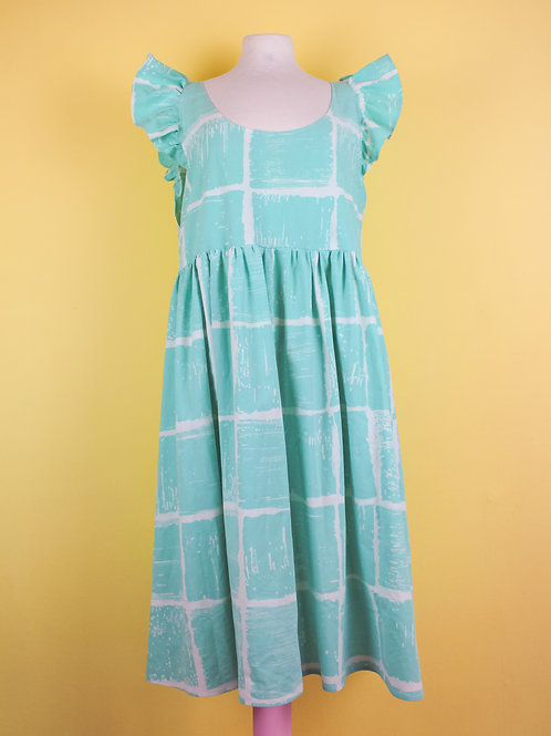 Frilly Turquoise squares - POP ON PINAFORE xtra length L/XL