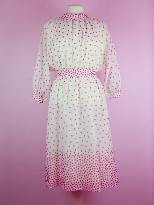 Splash of pink dots - Vintage dress - S