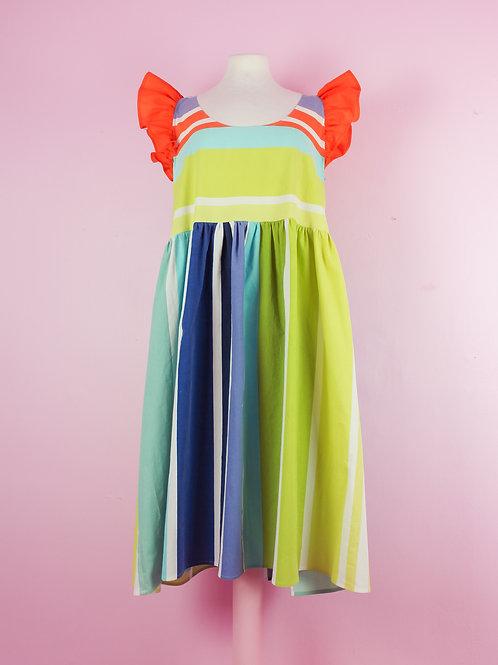 Multi stripy - POP ON PINAFORE dress L/XL