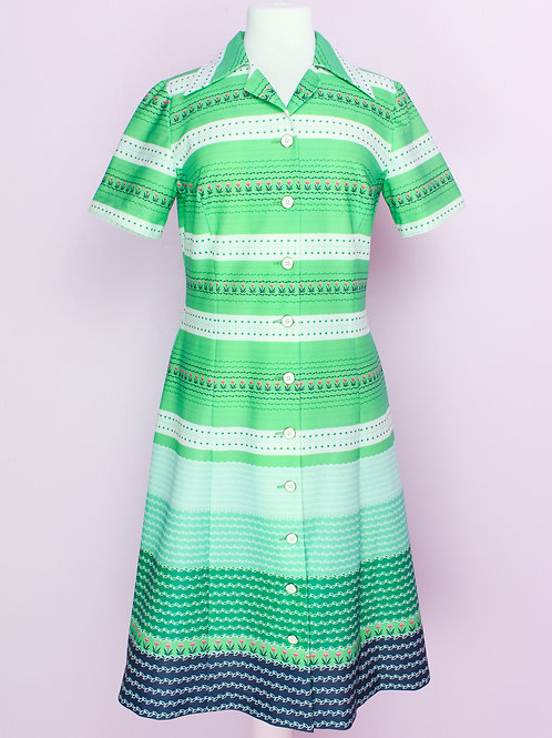 Tulip and greens - Vintage Dress - M