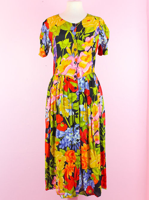 Tropical Flowers - Vintage Dress - S/M