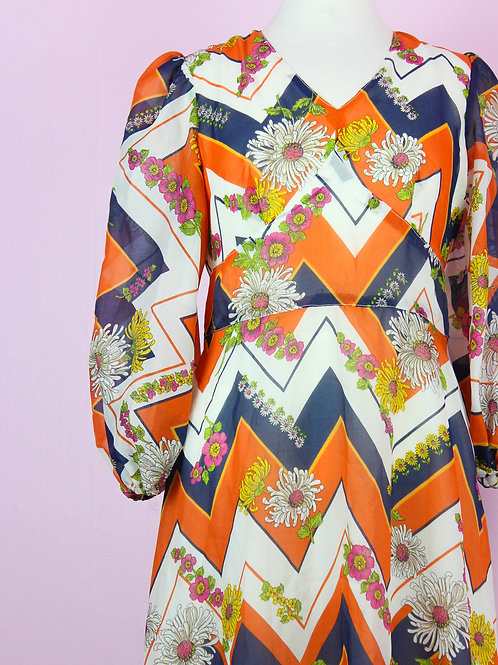 Orange pop - 70's Vintage long dress