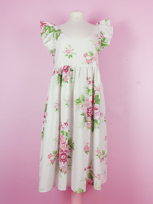 Flower romance - POP ON PINAFORE dress S/M