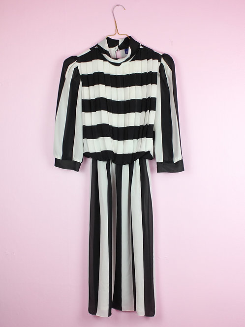 Black and white graphic - Vintage Dress - S