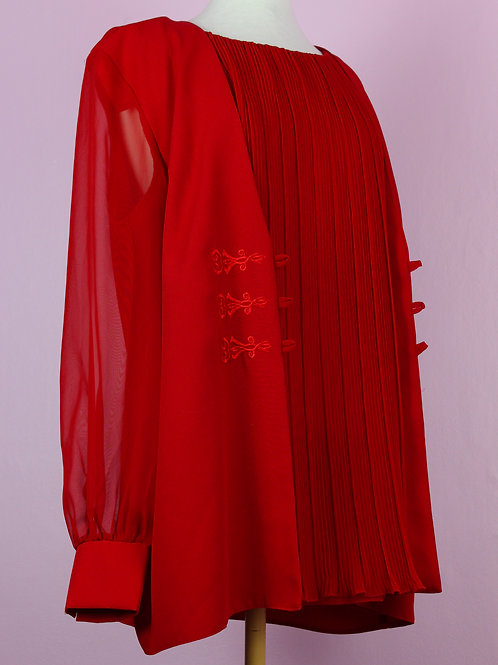 Royal Red - Vintage sheer layered top