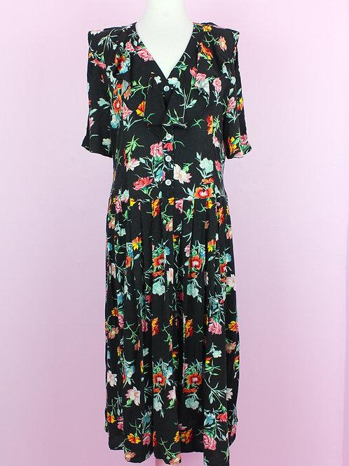 Black flowers - Vintage Dress - L
