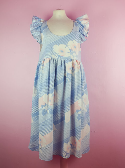 Soft flowers - Frilly POP ON pinafore dress - L/XL
