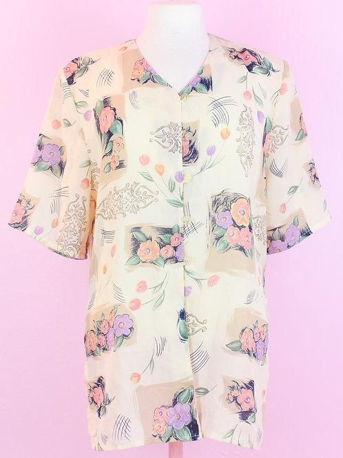 Flowers - Vintage shirt - L