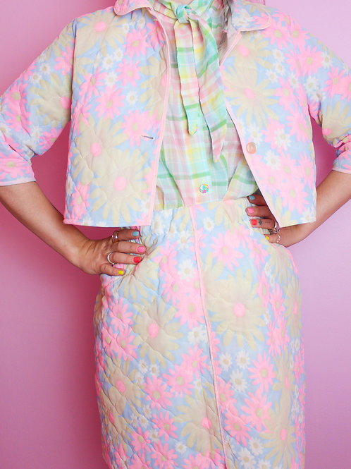 60's flower print set - Remade  - S
