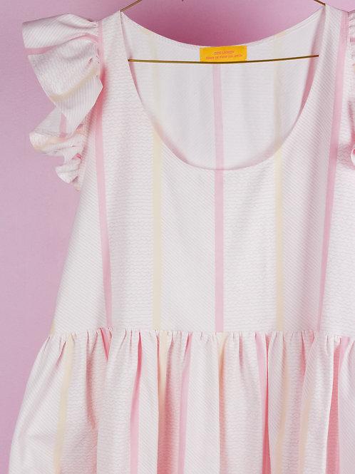 Frilly Pink stripes- POP ON PINAFORE DRESS - L/XL