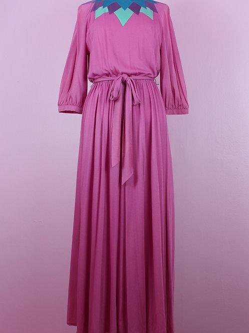 pink with teal details- Vintage long dress