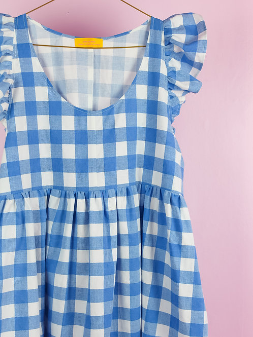 Frilly Blues - POP ON PINAFORE DRESS -S/M