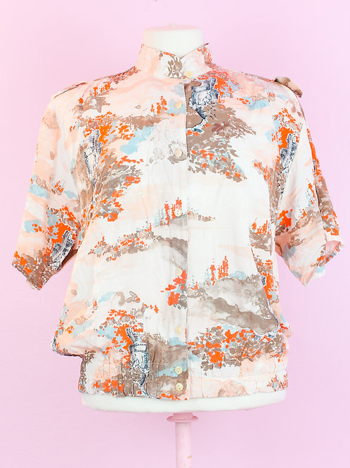 Orange sakura - Vintage top -L